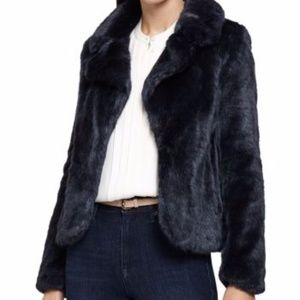 Reiss Navy Aila Faux Fur Double Breasted Jacket